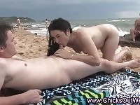 A real Aussie getting nasty on a public beach